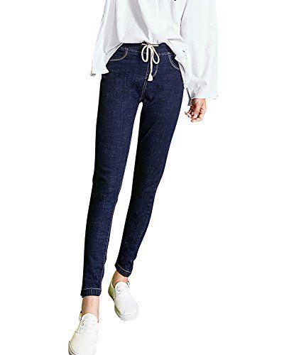 c8ddfb236ca5 Femme Élégant Jeans Slim Fit Casual Pantalon en Denim avec Ceinture Réglable  Bleu Foncé 28