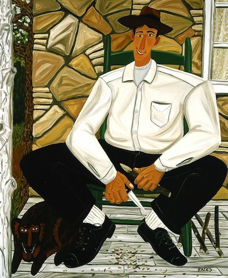 David Bates, The Whittler, 1983, oil on canvas, 96 1/2 x 78 1/2 in. BLANTON MUSEUM OF ART/ MICHENER ACQUISITIONS FUND, 1983.123