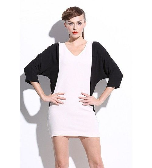Slim Temperament Boutique Original Design V-neck Color Block Dress is Hot Selling at MsFairy.com ☺  ✿