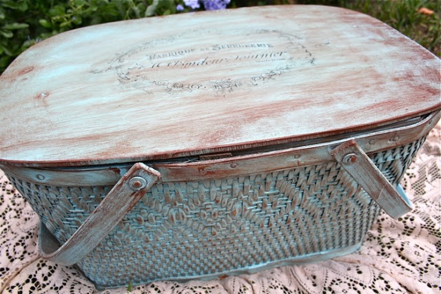 Painted and Stenciled Vintage Picnic Basket