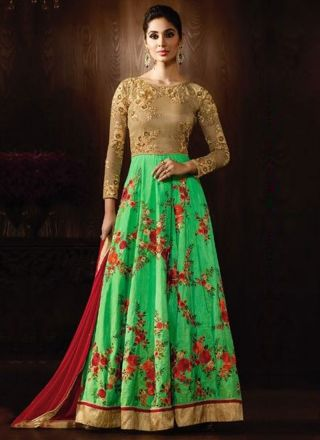 Green Red Embroidery Work Raw Silk Net Chiffon Designer Anarkali Long Suit http://www.angelnx.com/Salwar-Kameez/Anarkali-Suits