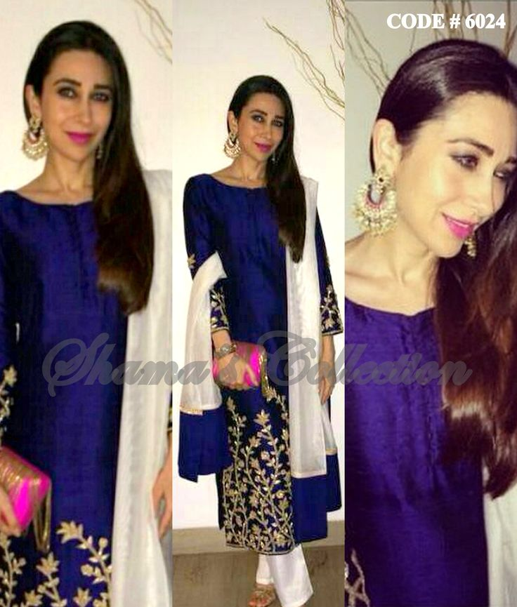 6024 Karisma Kapoor's blue and white straight fit suit - Shama's Collection