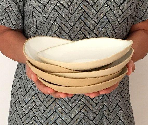 Hand Made Ceramic White Bowl Set of 4 Dinnerware by bininaor