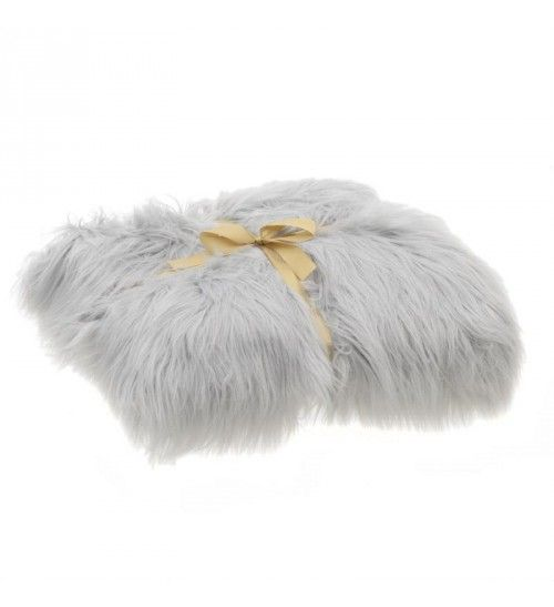FAUX FUR THROW IN LIGHT GREY COLOR 140X160