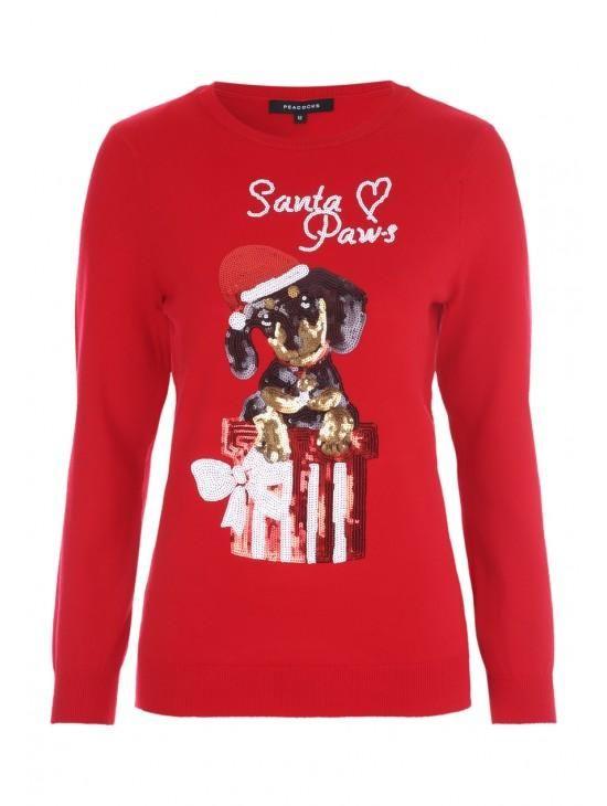 cd04cd8f9e2f Womens Red Sequin Dog Christmas Jumper