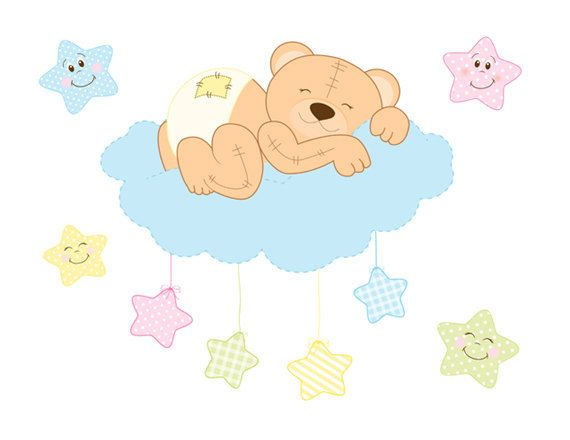 Teddy Bear Decal Mural Wall Art For Baby Boy Or Girl