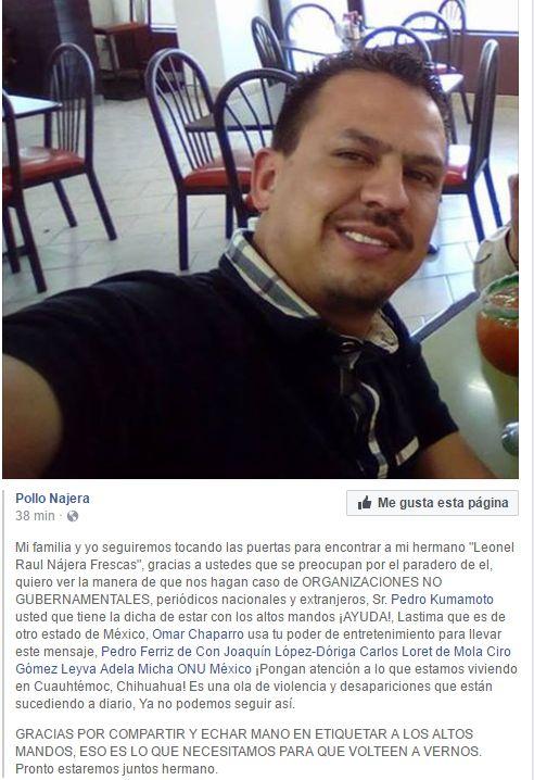 Tiene una semana desaparecido el hermano del Pollo Nájera; pide ayuda a personalidades para encontrarlo | El Puntero