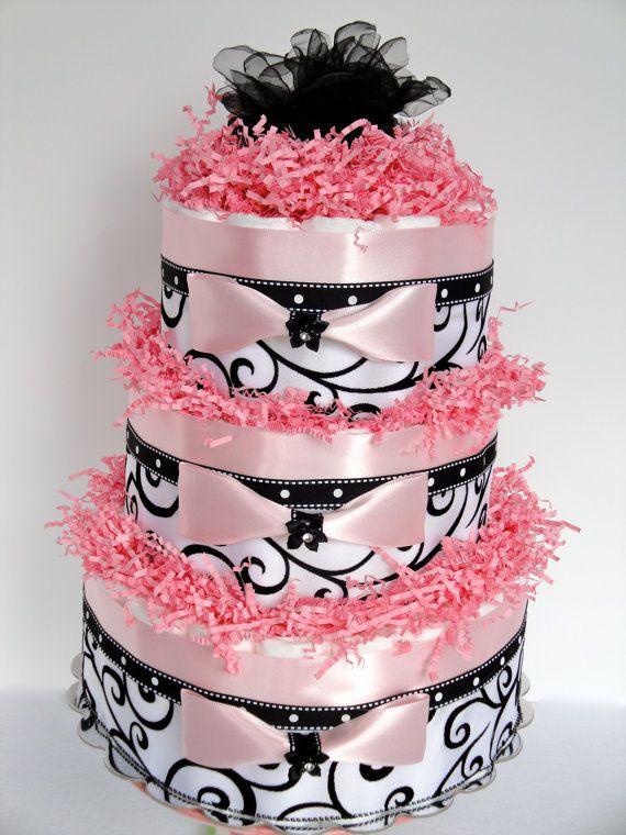 Damask Baby Shower Baby Diaper Cake - Black, Pink & White Damask Elegant Baby Shower Diaper Cake Centerpiece  - 3 Tier. $80.00, via Etsy.