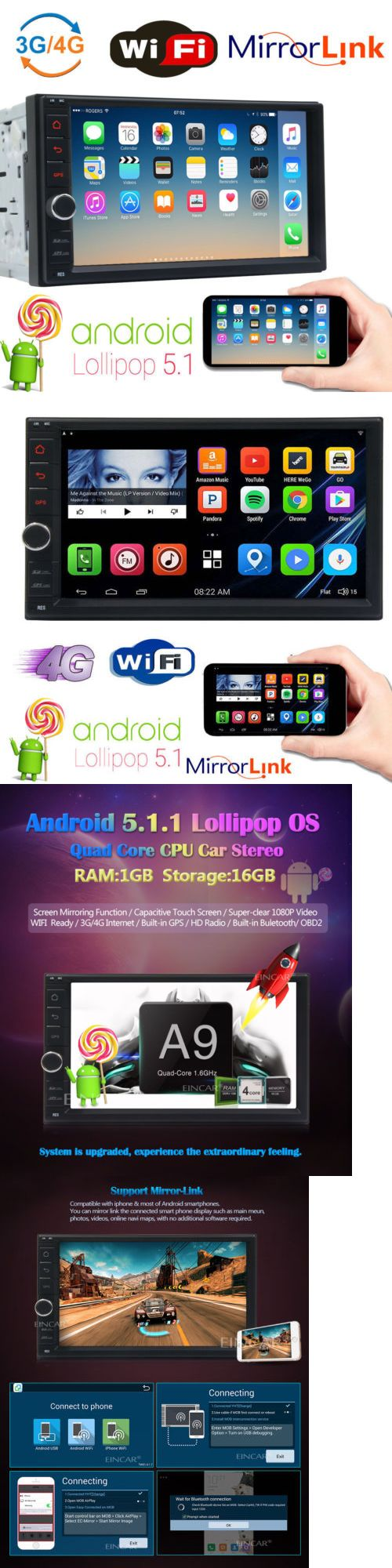 Video In-Dash Units w GPS: Android 7 Touch Screen Double Din Gps Car Stereo Quad-Core Radio Tv Wifi No Dvd BUY IT NOW ONLY: $159.9