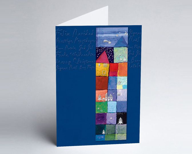 #Weihnachtskarte #Kunst in Blau mit farbigen Häusern und geprägten internationalen Weihnachtswünschen