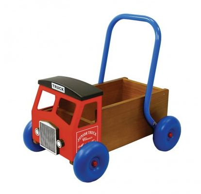 Truck Baby Walker - Red ~  This handsome red truck baby walker has a strong steel cab and handle, a solid wooden body and durable moulded rubber wheels for good grip.  This handy truck is perfect for transporting all of your child's treasured belongings.  Suitable for ages 1-3 years  £64.99 Maybe something for https://Addgeeks.com ?