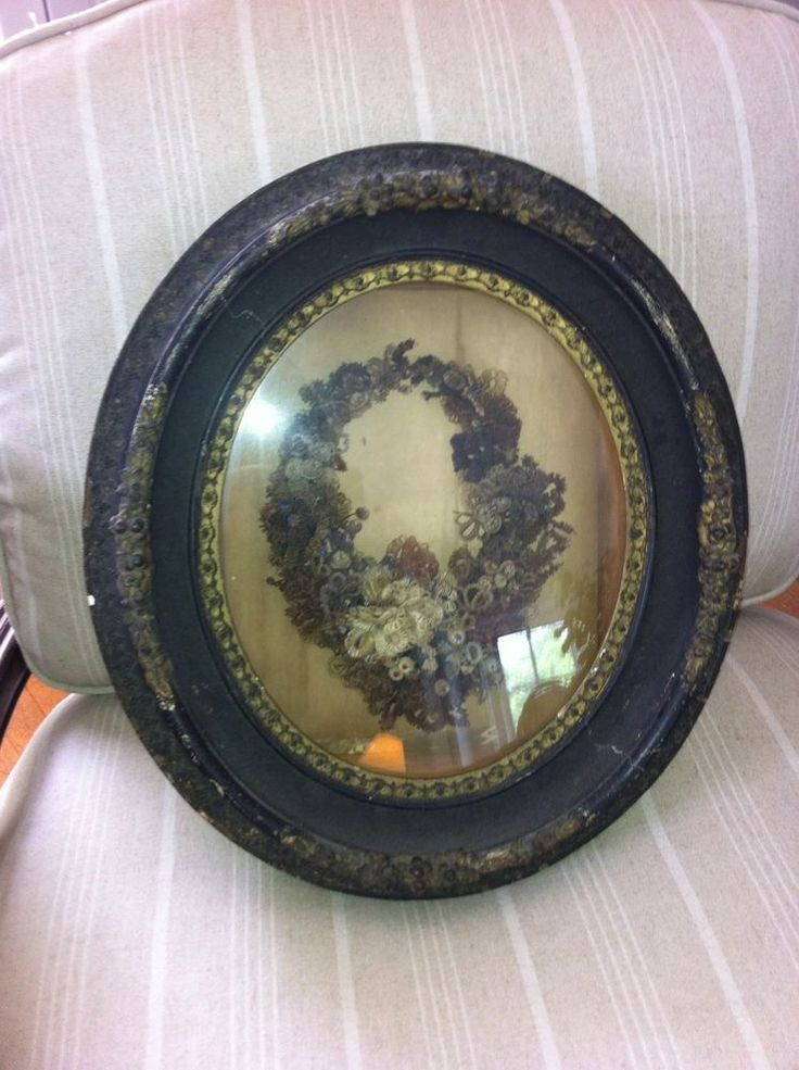 Antique Victorian Memorial Mourning Hair Wreath