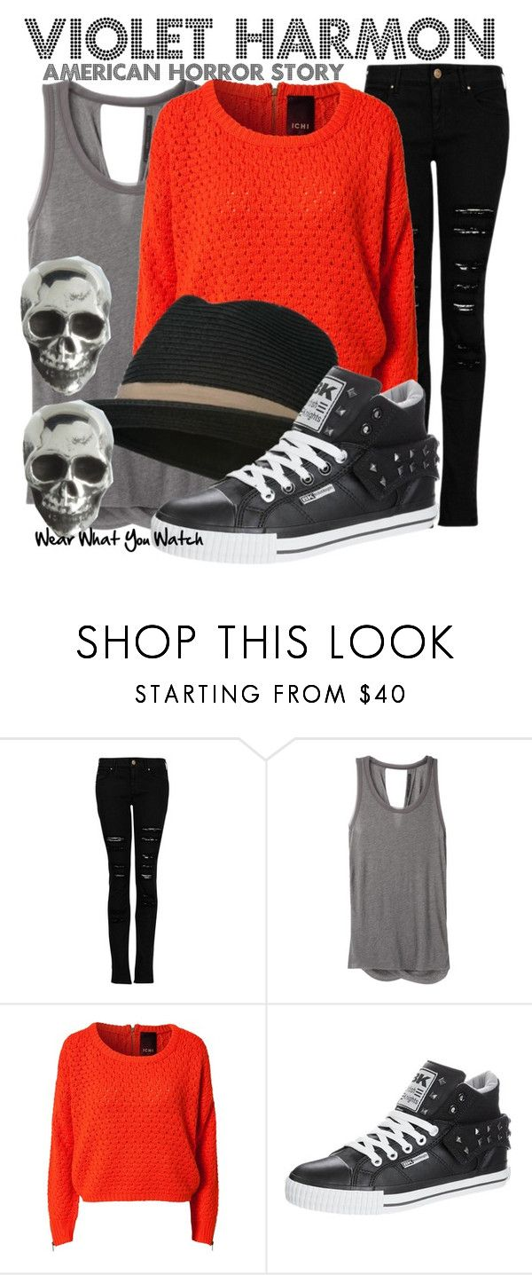 """""""American Horror Story"""" by wearwhatyouwatch ❤ liked on Polyvore featuring MANGO, rag & bone, Ichi, British Knights, King Baby Studio, cable knit sweaters, studded sneakers, distressed denim, fedora hats and taissa farmiga"""