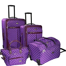 American Flyer AF Signature 4-Piece Luggage Set Chocolate Gold - American Flyer…