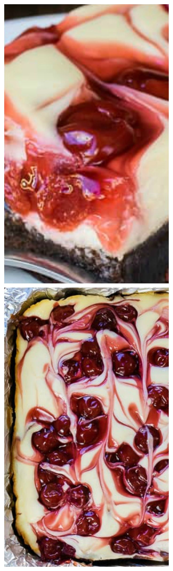 Cherry Cheesecake Brownies ~ Layers of brownie, cheesecake, and cherry pie filling