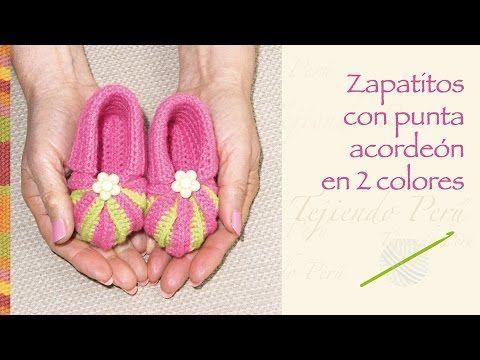 Crochet paso a paso: zapatos con punta acordeón en 2 colores tejidos a crochet para bebés! - YouTube