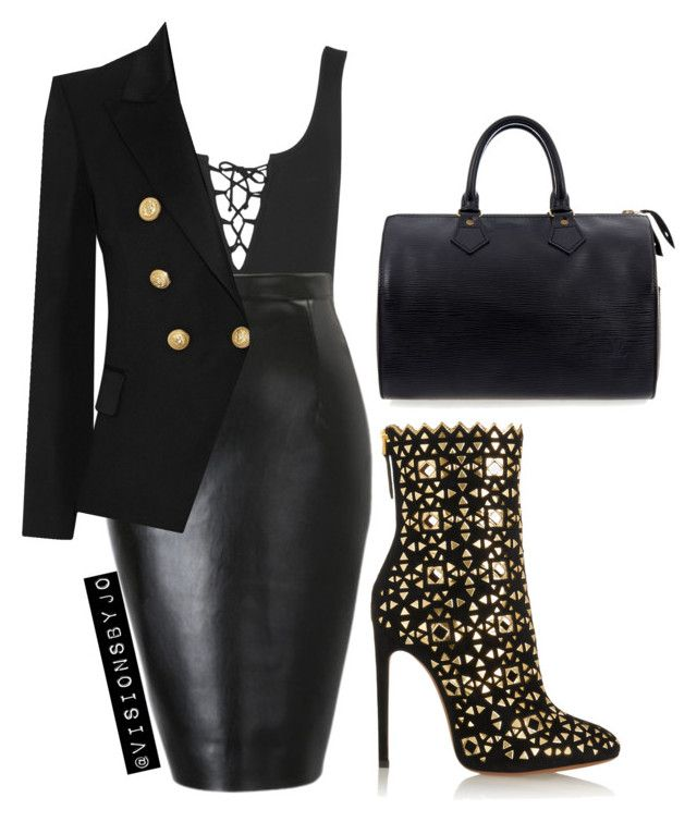 """Untitled #1101"" by visionsbyjo on Polyvore featuring Topshop, Balmain, Alaïa and Louis Vuitton"