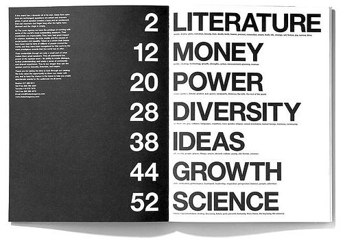 This is very big and bold. People will have no problem reading this. Personally, I don't like the type this big, but I think they did that so it fits with the rest of the magazine. It's not one of my favorite table of contents page though.
