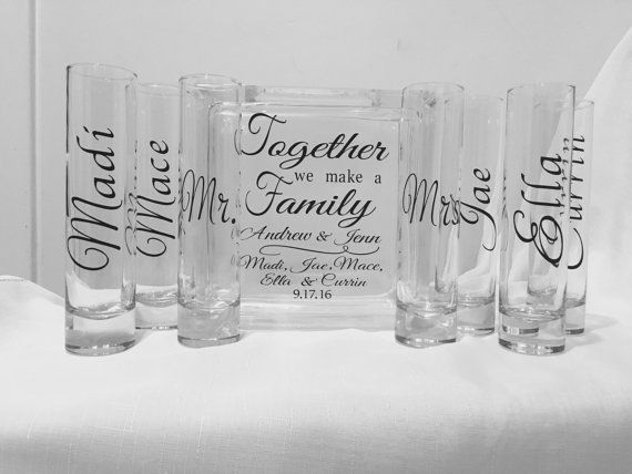 Family Blended Unity Sand Ceremony Glass Containers  Glass