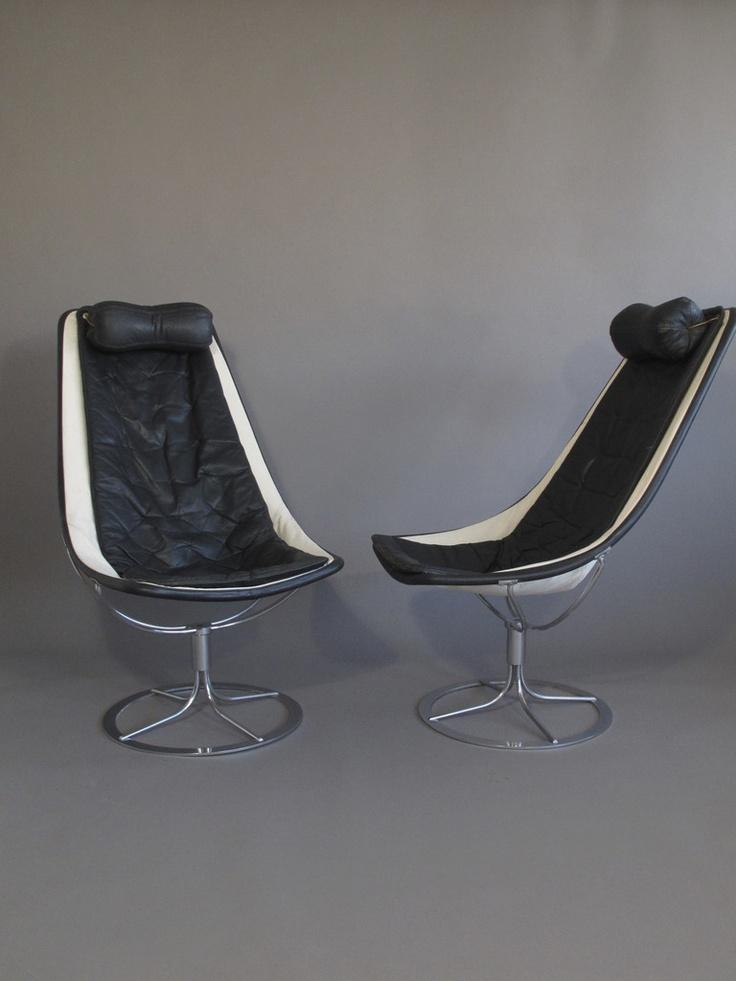 Bruno Mathsson; Leather & Chrome Swivel Chairs, 1960.
