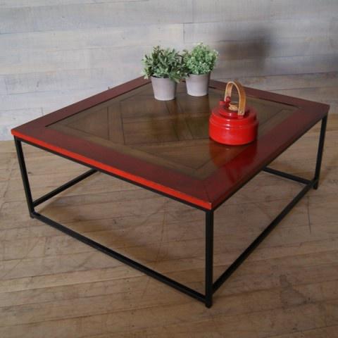 Table Basse Parquet Grand Carré Pieds Fer