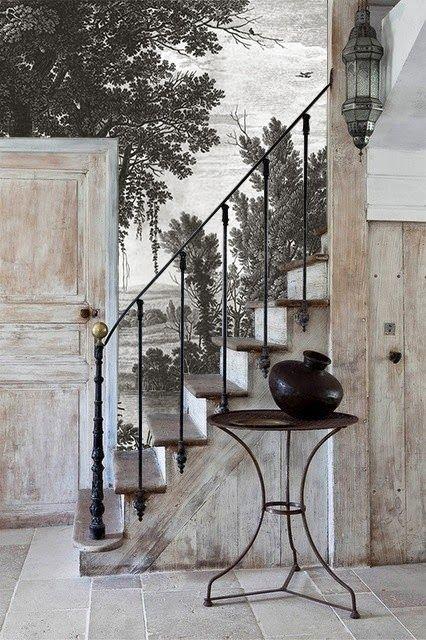 Ananbô: Campagne grisaille - Papier peint panoramique
