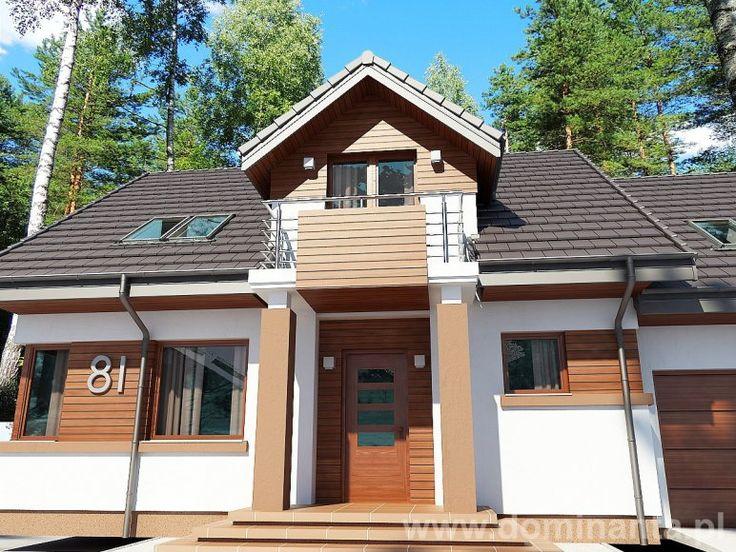 Kontrastowy dach i ściany świetnie prezentują się w domach jednorodzinnych.  Projekt Koralgol do kupienia tutaj: http://www.dominanta.pl/