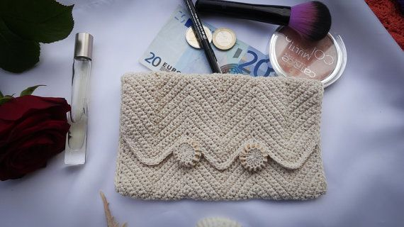 Crocheted Chevron  Purse  Cosmetic Bag  Make Up Bag by MadeByLauri