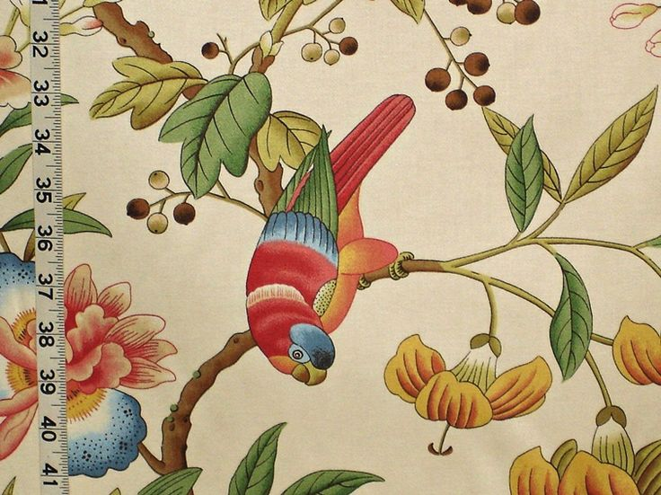 Parrot Fabric Tropical Peach Oriental From Brick House