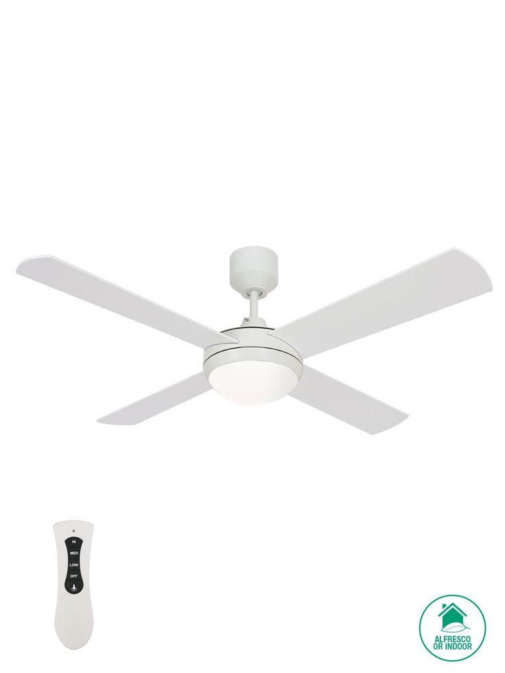 Futura Eco 122cm Fan with LED Light in White