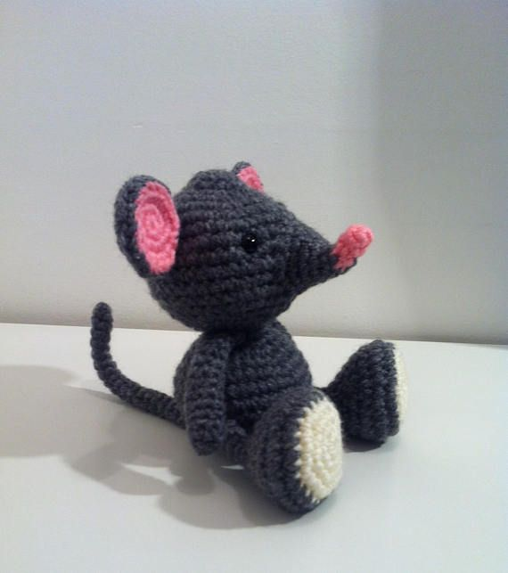 Mouse Grey Mouse Handmade Soft Toy Amigurumi Mouse