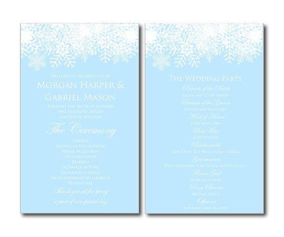 Winter Wedding Program  Snowflake Wedding  by ClearyLaneWeddings