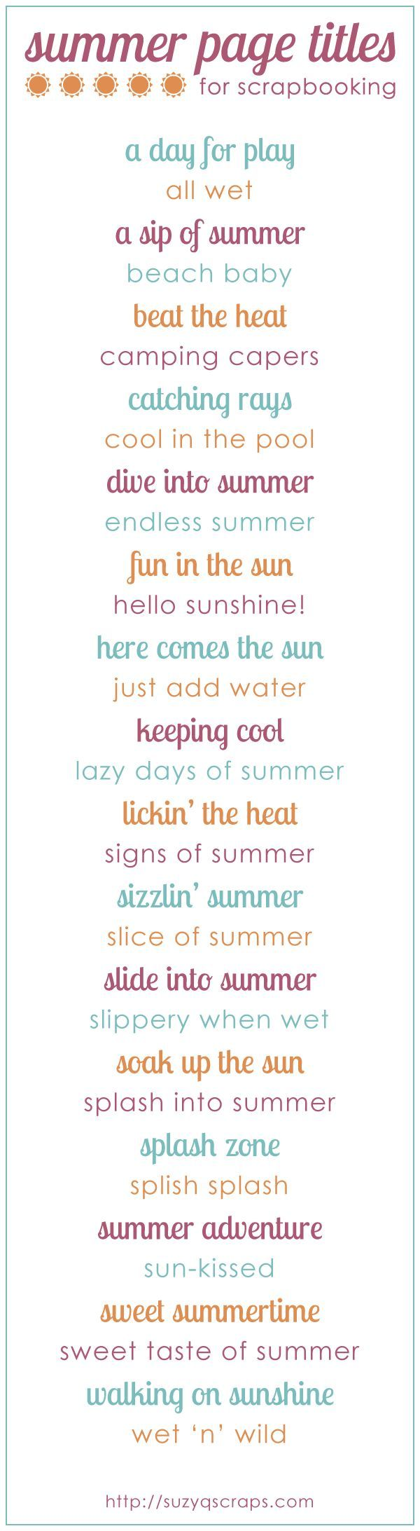 Summer scrapbook page titles