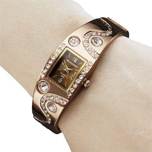 Poze Elegant ceas de dama cu cristale - rose - coffee