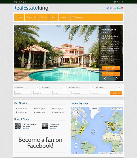 This real estate WordPress theme has over 500 Google Web Fonts, 20 custom widgets, lots of shortcodes, easy color, logo, favicon, and font customization, unlimited sidebars, Google Maps integration, a property search tool, and more.