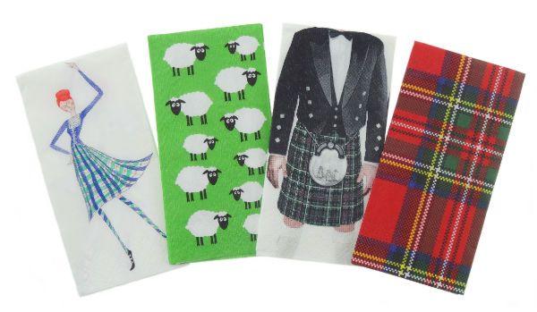 10 pocket tissues in four different Scottish designs
