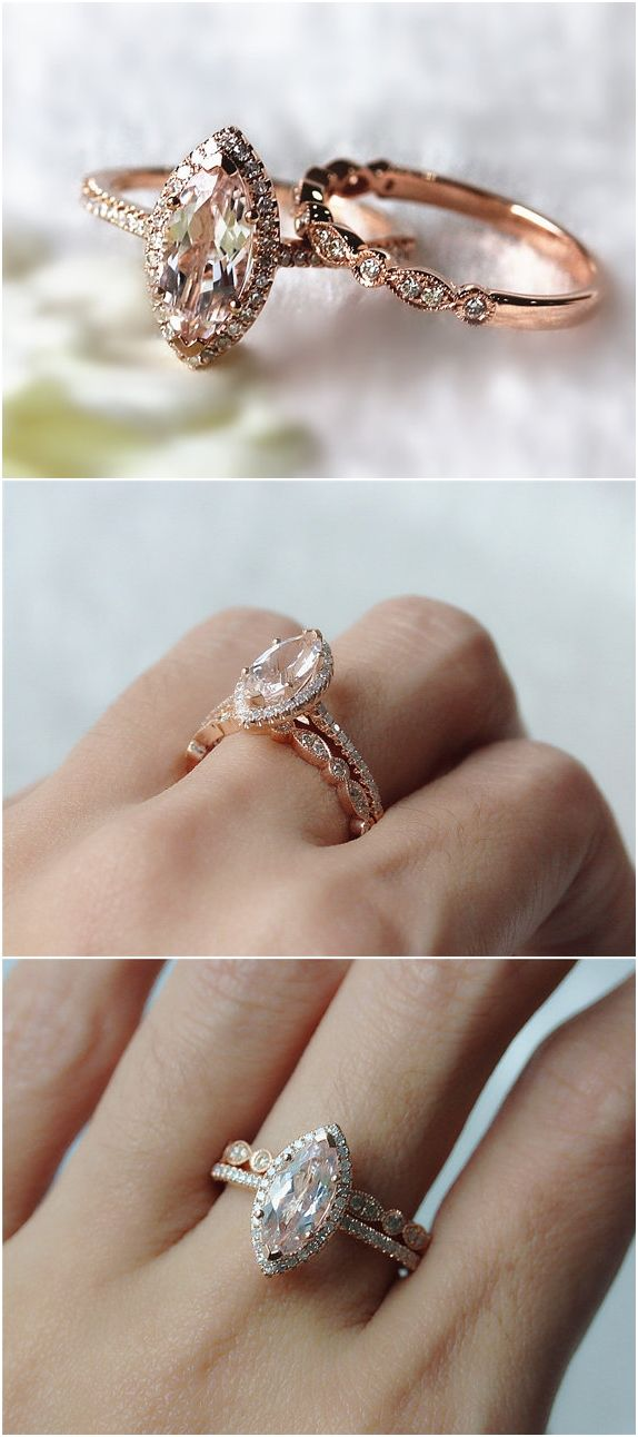 Fancy Pink Morganite Wedding Set 1.0ct Morganite Jewelry Wedding Ring / http://www.deerpearlflowers.com/rose-gold-engagement-rings/