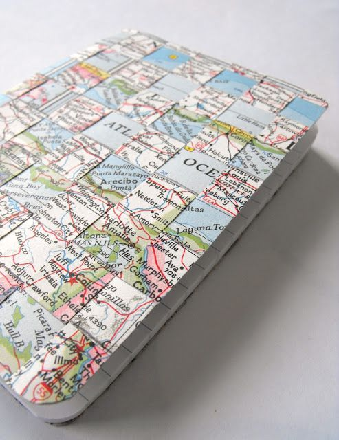 DIY : Woven Maps Notebook cover ... great way to upcycle obsolete maps ... Travel Mini cover idea