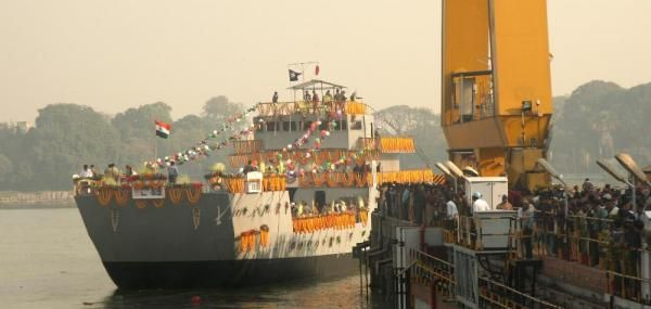 India's navy commissioned the first of eight MK IV-class Landing Craft Utility ships during a ceremony at Port Blair on Tuesday.