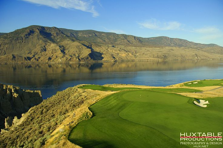 14th & 15th holes at Tobiano Golf Course in Kamloops, British Columbia shot from a helicopter by Bob Huxtable.