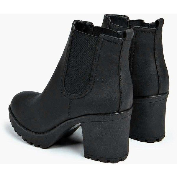 Boohoo Tia Chunky Cleated Heel Chelsea Boot | Boohoo ($44) ❤ liked on Polyvore featuring shoes, boots, ankle booties, block heel booties, chunky-heel ankle boots, high heel booties, chunky platform boots and peep-toe ankle booties