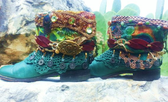 "The Boot Gawdess would Love to create a custom boot for you to enjoy with your Spring Wardrobe! Check out one of my boots...... ""PEACOCK MEDICINE "" Upcycled  Forest Green Justin Roper Western Cowboy Boots Ladies 8 B. Ankle Boots - Boho Boots"
