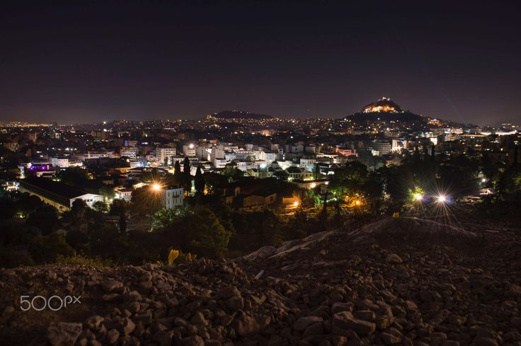 Athens city lights by Angelo Konofaos (Knf) on 500px