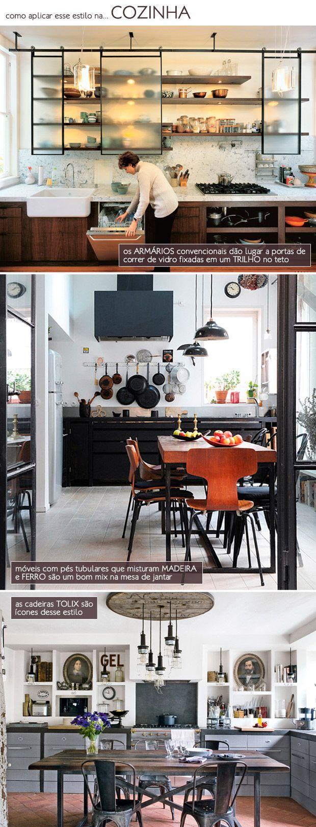 Iron and wood in the kitchen. Armario de vidro fosco.