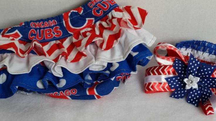 48 best custom embroidered personalized baby and toddler clothing chicago cubs diaper cover setffled bloomers hair bow setsports team diaper creative baby giftsruffle negle Gallery