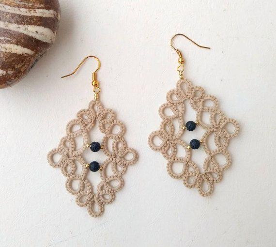 Ivory lace earrings  tatting lace  statement jewelry