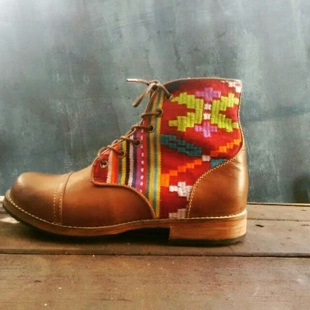 Leather boots with tenun NTT
