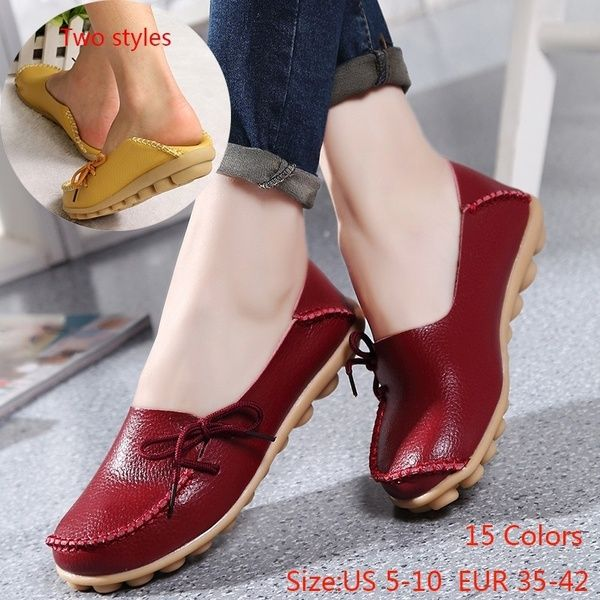 15 Colors Size 35 42 New Womens Leather Flats Shoes Soft