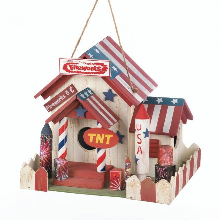 This fireworks shop is always open for a lucky bird to nest inside. The fun design takes all the best of the 4th of July celebration and makes a charming home for the birds. It has an American flag roof, a red and white picket fence, and more than one entrance for the birds.
