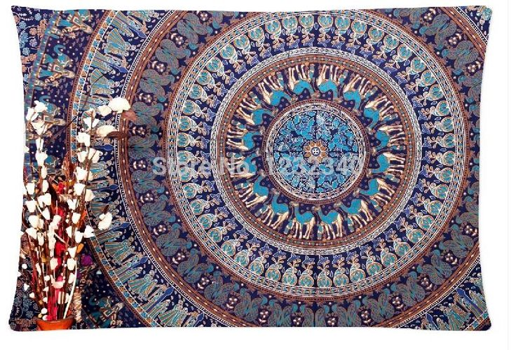 Cool Pillowcase Mandala Hippie Tapestry Style Pillow Case (Twin Sides)(20x30 Inch)